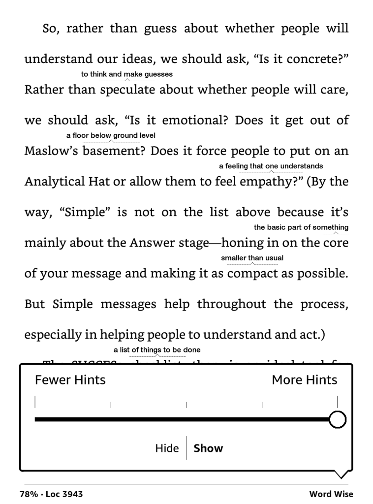 Kindle page with word wise hints shown